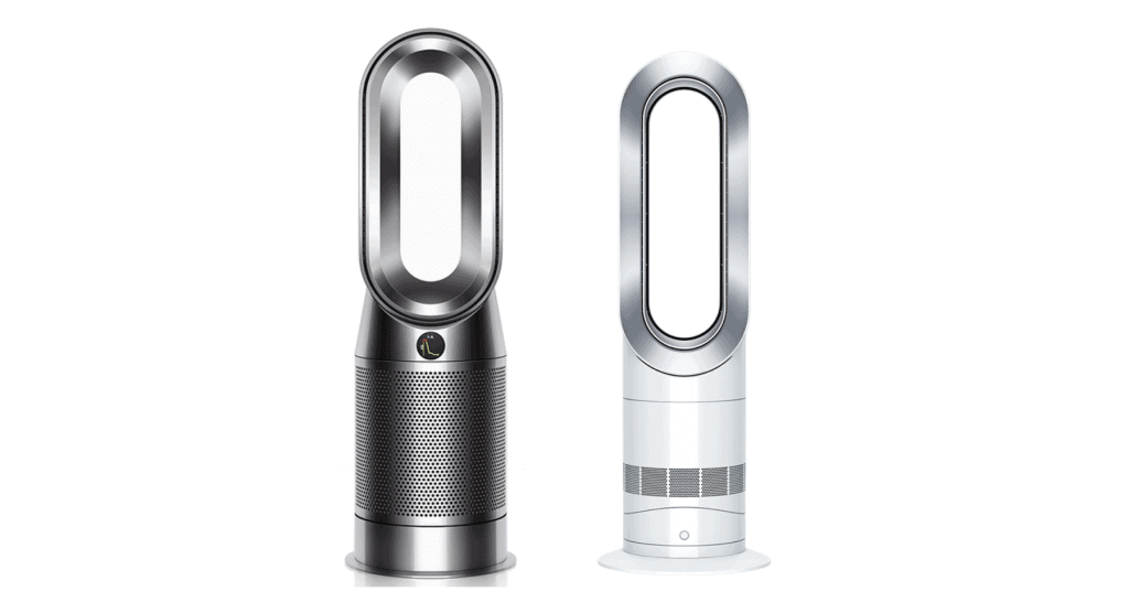 A side-by-side comparison of Dyson HP04 versus Dyson AM09.