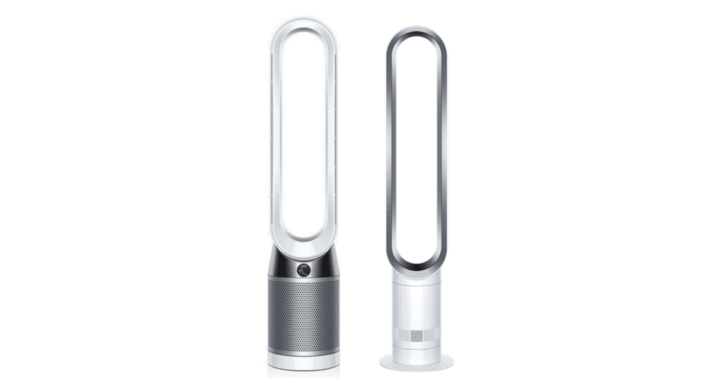 A side-by-side comparison of Dyson TP04 versus Dyson AM07.